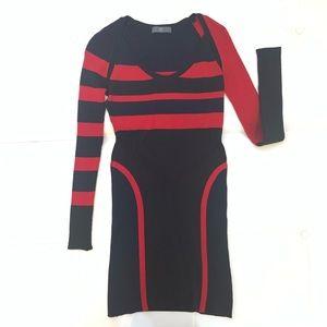 ALEXANDER MCQUEEN Wool Three Color Dress Sz S